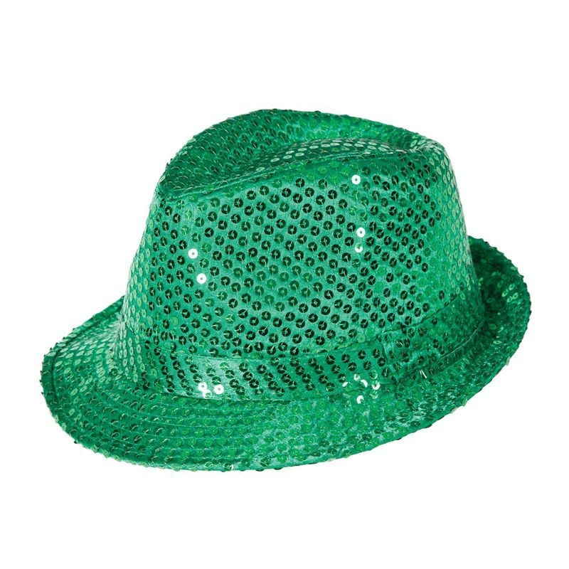 Adult Unisex Fedora - Emerald Green Sequin Hat - (Green)