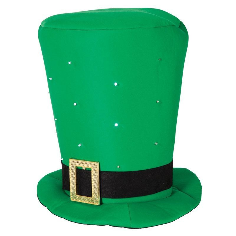 Adult Unisex Giant St Patricks Top Hat With Flashing Leds Hats - (Green)