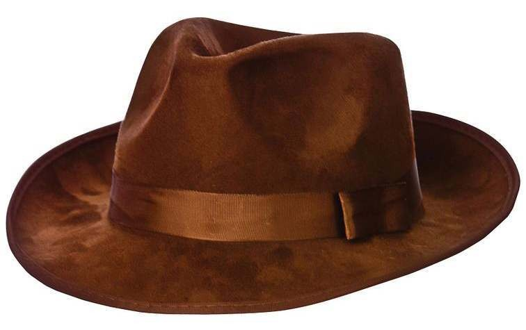 Top Quality Adult Brown Suede Fedora Fancy Dress Accessory