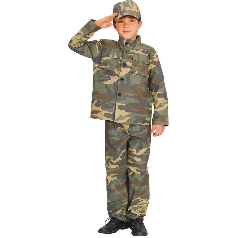Action Commando Fancy Dress Costume Boys (Army)