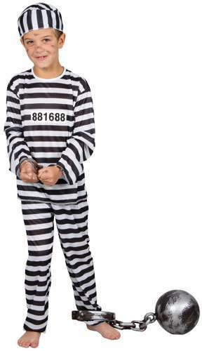 Boys Prison Inmate Costume Fancy Dress (Cops/Robbers)