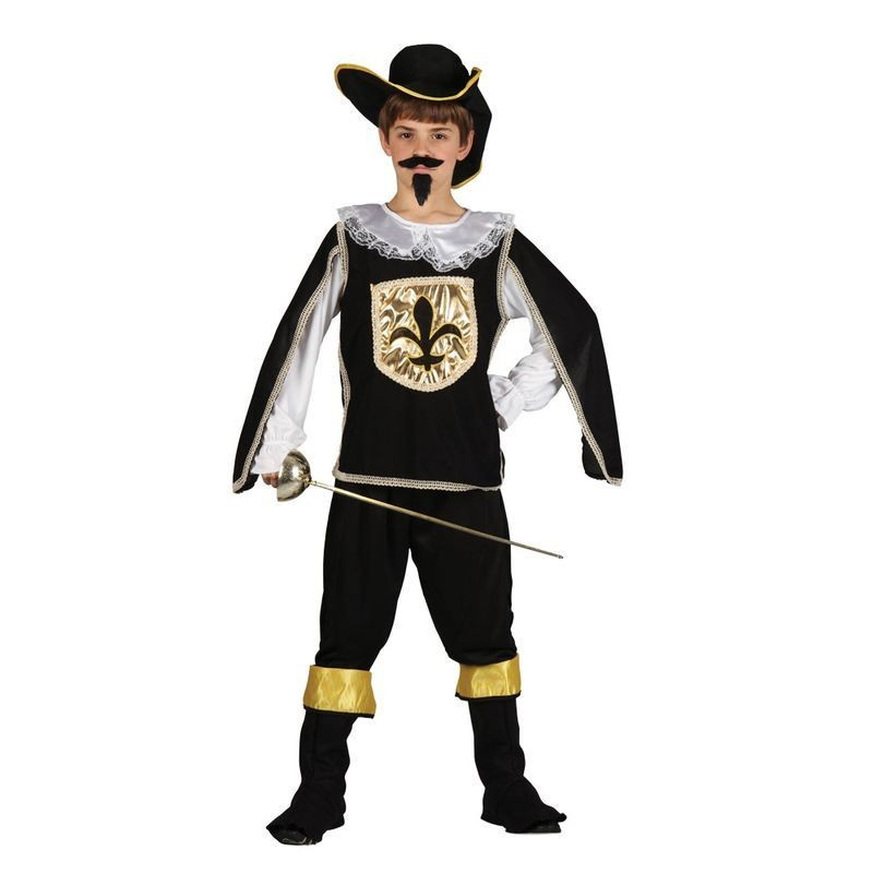Boys Musketeer Black Musketeer Outfit - (Black)