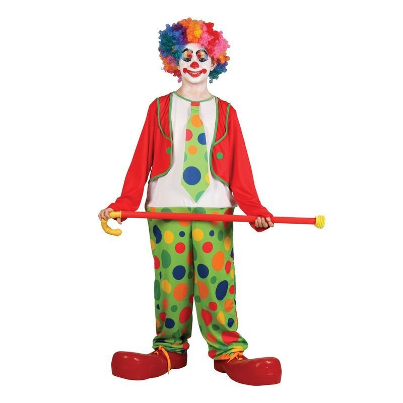 Boys Funny Circus Clown Clowns Outfit - (Multicolour)