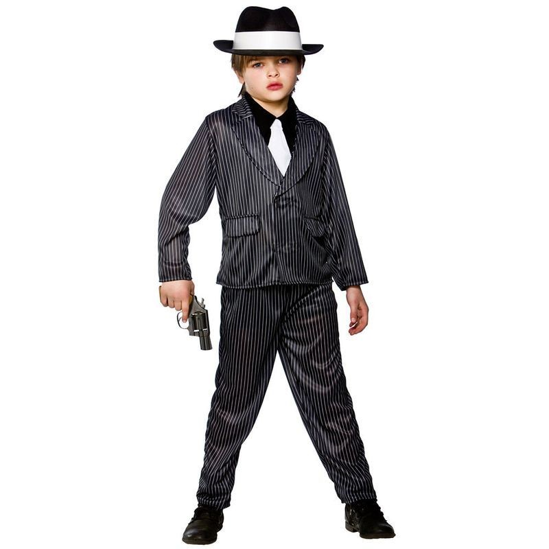 Boys Gangster Wise Guy Cops/Robbers Outfit - (Black)