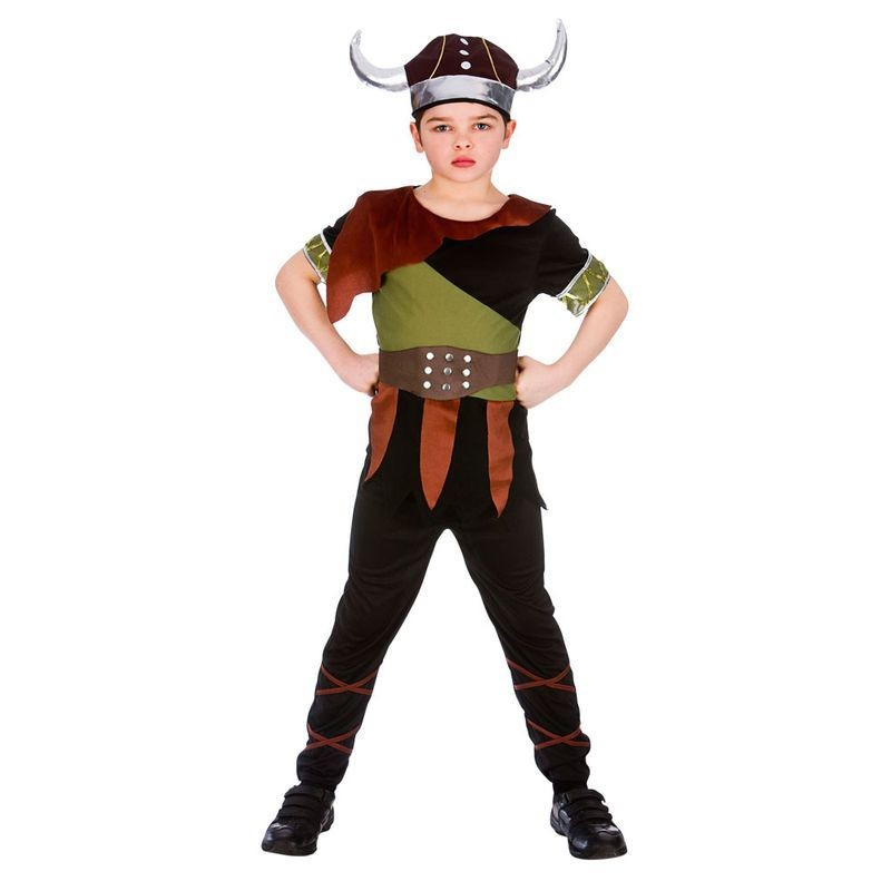 Boys Black Norse Viking Warrior Fancy Dress Costume