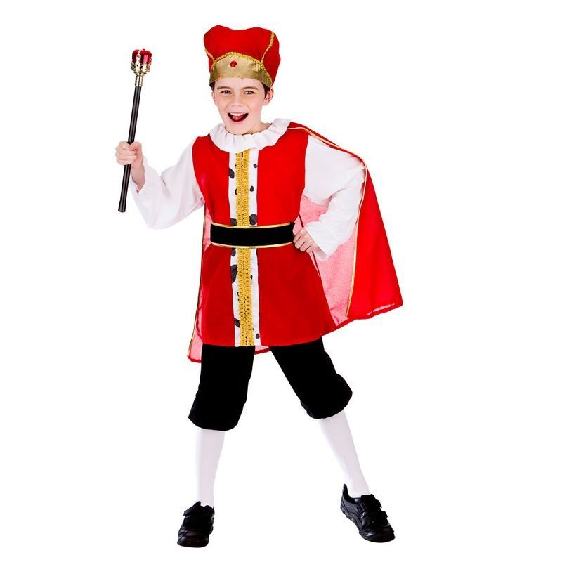 Boys Red/White King Of The Realm Fancy Dress Costume