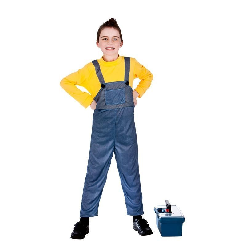 Boys Blue/Yellow Mischevious Minion Style Worker Fancy Dress Costume.