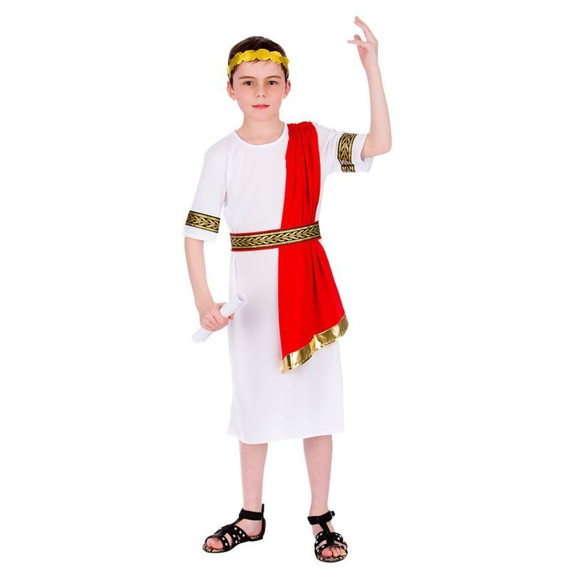 Boys White/Red Ancient Roman Emperor Fancy Dress Costume
