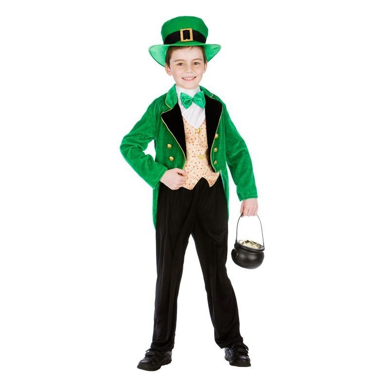 Boys Green Deluxe St Patricks Leprechaun Fancy Dress Costume