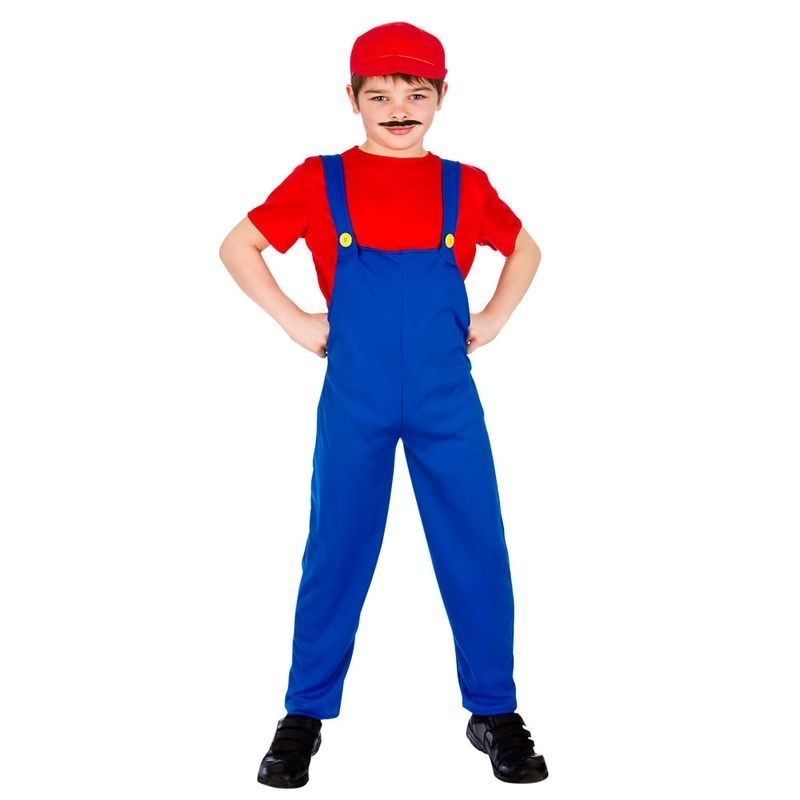 Boys Blue/Red Video Game Funny Plumber Fancy Dress Costume
