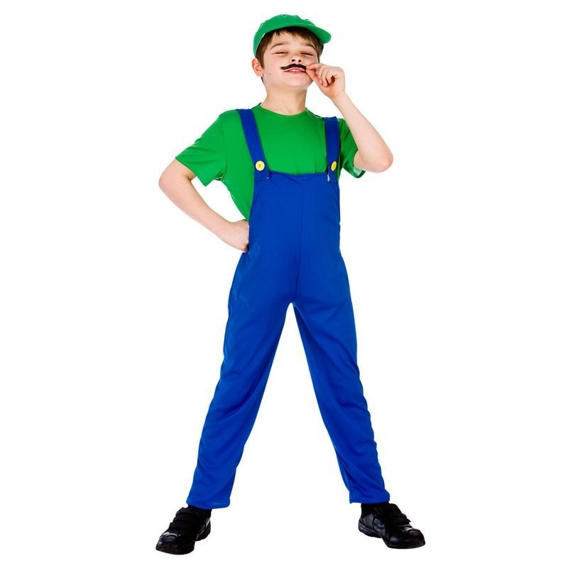 Boys Blue/Green Video Game Funny Plumber Fancy Dress Costume