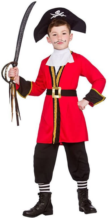Boy'S Black/Red Pirate Captain Fancy Dress Costume