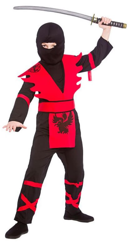 Boy'S Black/Red Ninja Assassin Fancy Dress Costume
