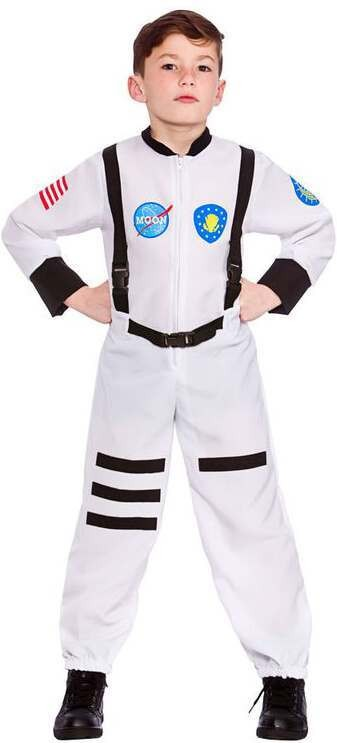 Boy'S White Moon Mission Astronaut Fancy Dress Costume