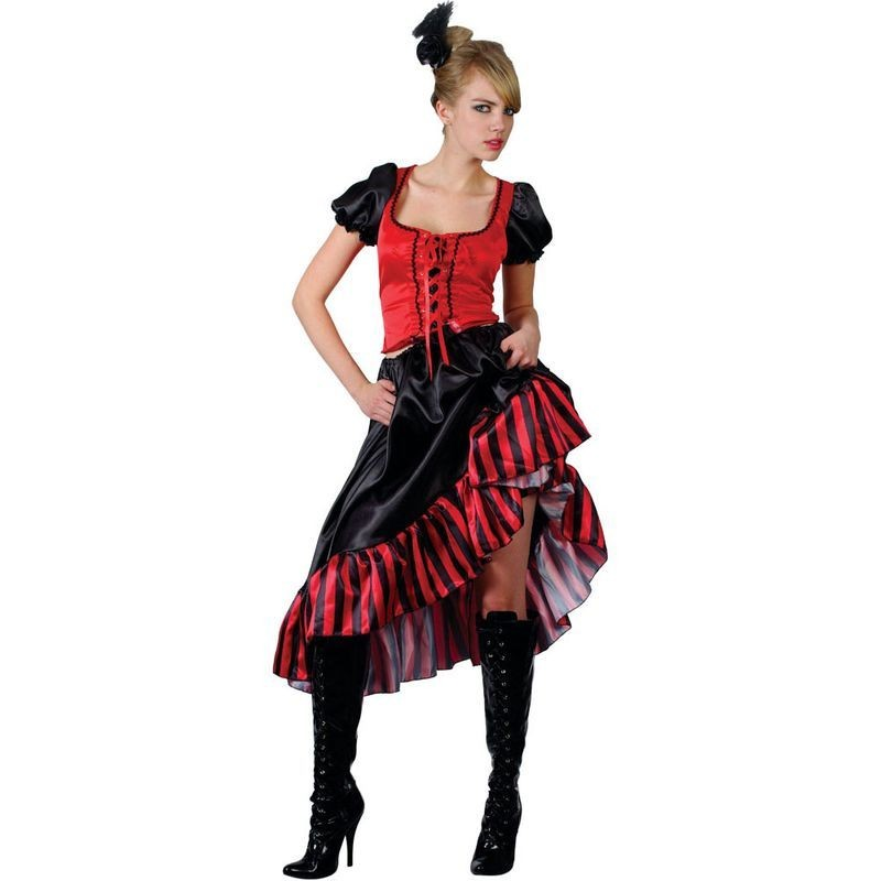 Can Can Saloon Girl Fancy Dress Costume Ladies (Cowboys/Native Americans)