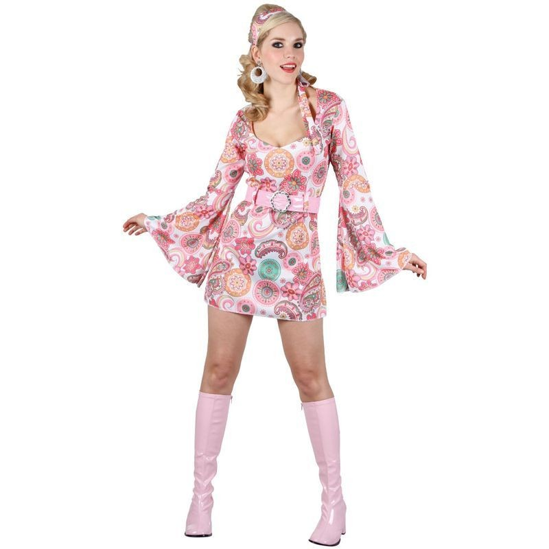 Ladies Retro Go Go Girl - Pink Flower Costume (1970S)
