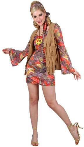 Ladies Retro Hippie Girl Costume Fancy Dress (1960S)