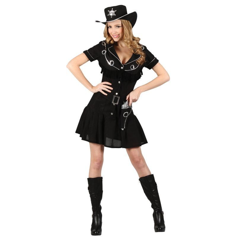 Ladies Black Gunslingin Western Cowgirl Fancy Dress Costume