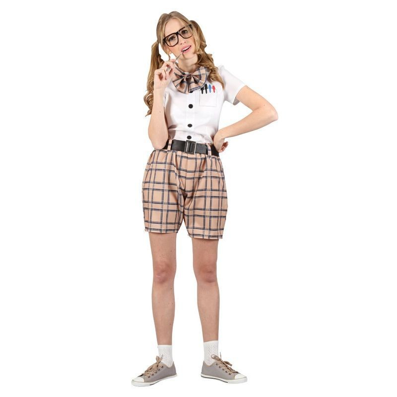 Ladies High School Nerd Girl School Outfit - (White, Brown)