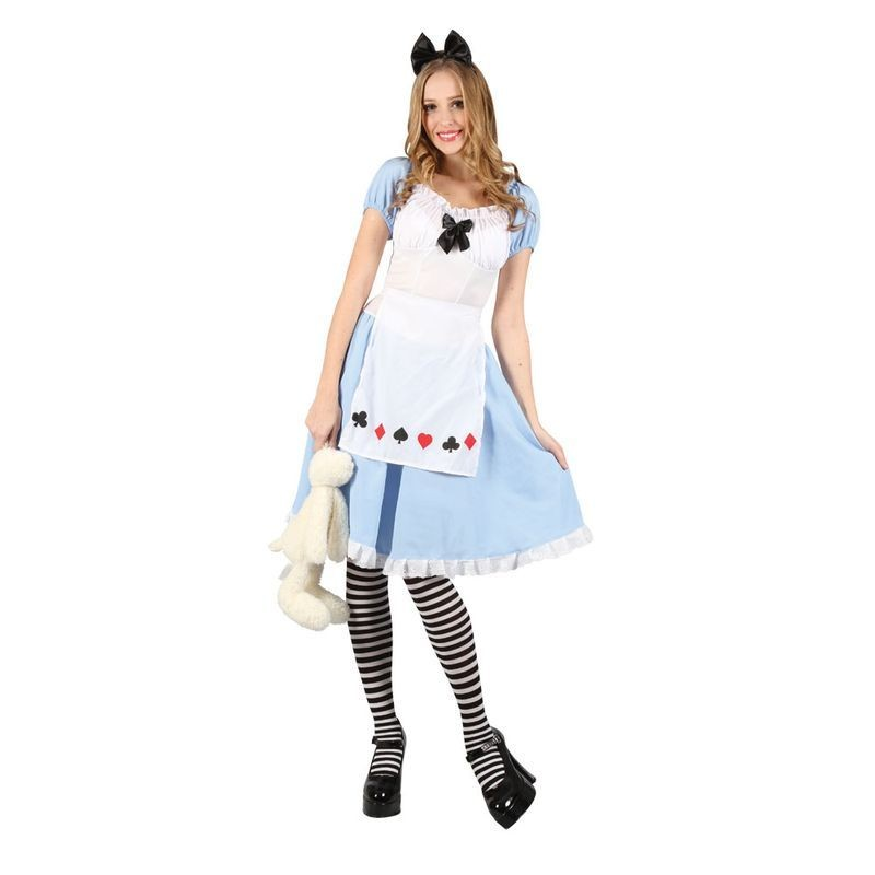 Ladies Adorable Alice Fairy Tales Outfit - (White, Blue)