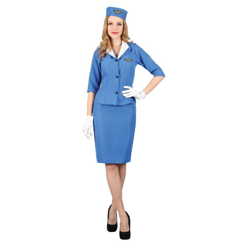 Ladies Blue Cabin Crew Pan Am Air Hostess Fancy Dress Costume