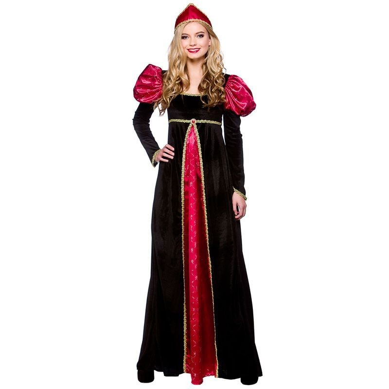 Ladies Medieval Queen Medieval Outfit - (Black, Red)