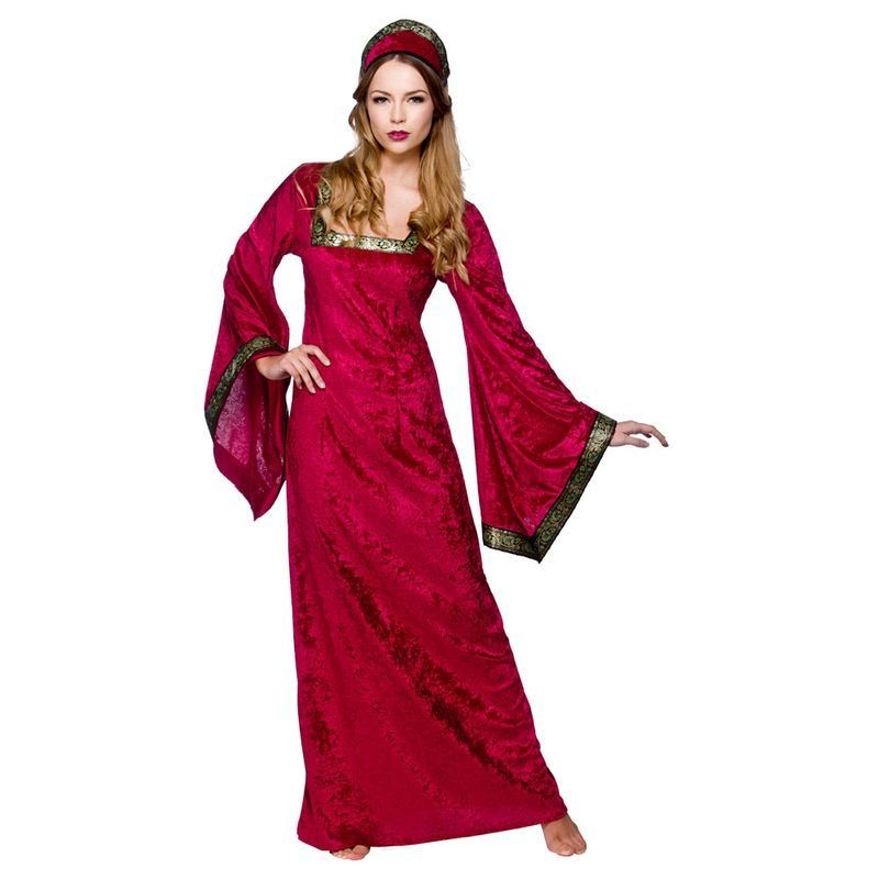 Ladies Medieval Princess - Maroon Medieval Outfit - (Red)