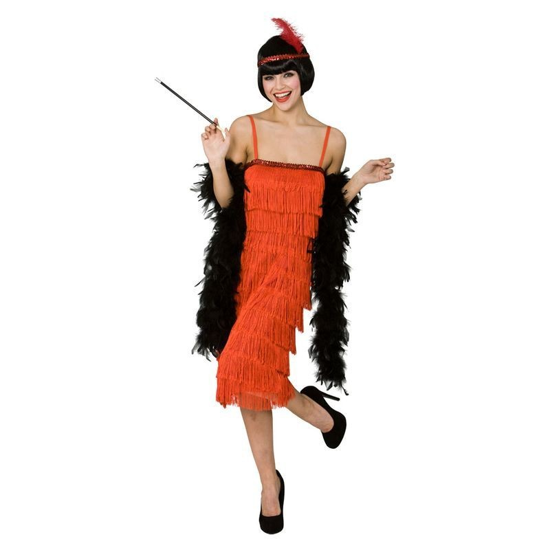 Ladies Jazzy Flapper - Red 1920'S Outfit - (Red)