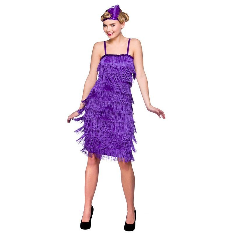 Ladies Jazzy Flapper - Purple 1920'S Outfit - (Purple)