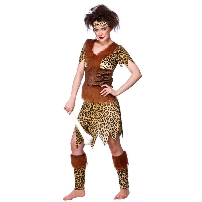 Ladies Cavewoman Deluxe Cavemen Outfit - (Animal Print)