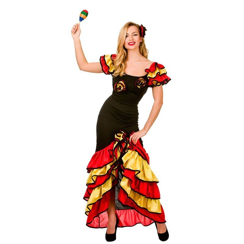 Ladies Red/Black/Gold Sexy Spanish Rumba Dancer Fancy Dress Costume