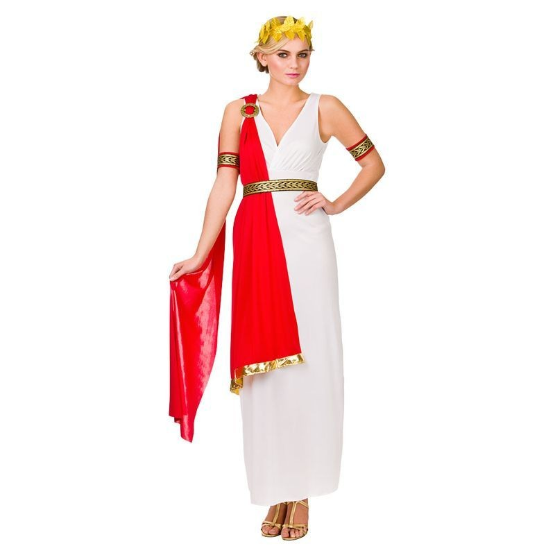 Ladies Red & White Glamorous Ancient Roman Lady Fancy Dress Costume