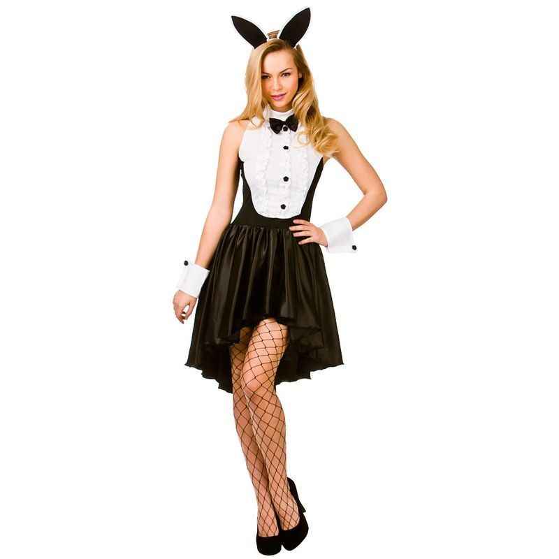 Ladies Black & White Sexy Bunny Girl Hostess Fancy Dress Costume