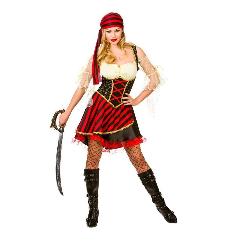 Ladies Black & Red Glamorous High Seas Caribbean Pirate Fancy Dress Costume