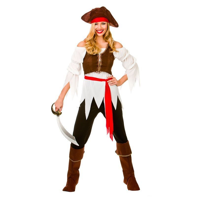 Ladies Black/Red/Brown Caribbean Pirate Shipmate Girl Fancy Dress Costume