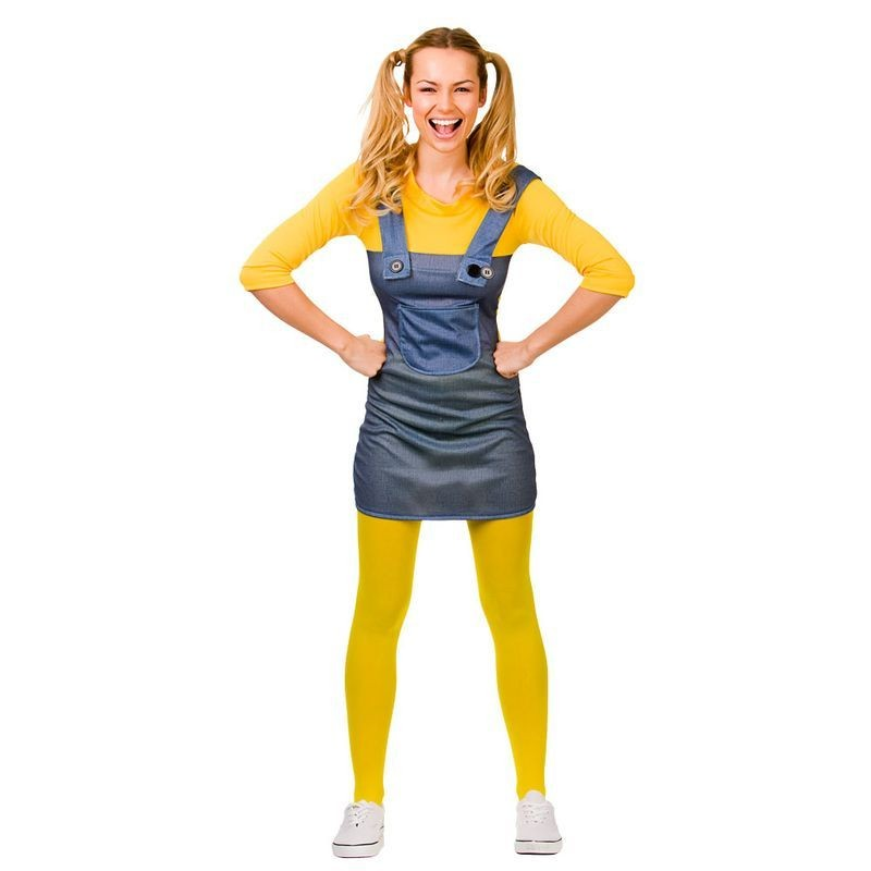 Ladies Blue/Yellow Mischevious Minion Style Worker Fancy Dress Costume