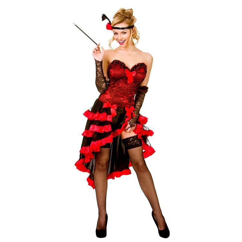 Ladies Red/Black Sexy Wild West Cabaret Showgirl Fancy Dress Costume