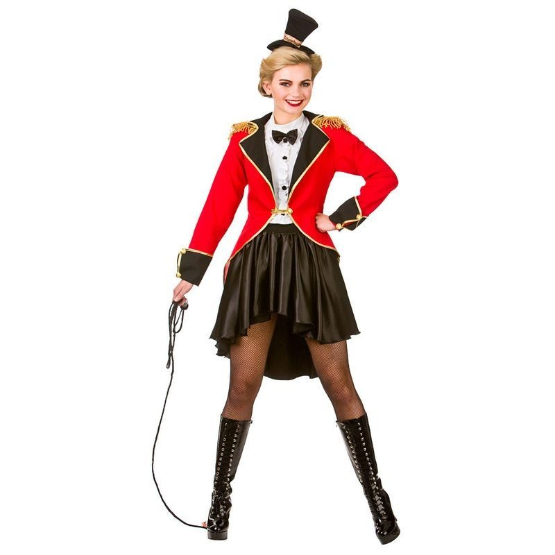 Ladies Red/Black Big Top Circus Ringmaster Fancy Dress Costume