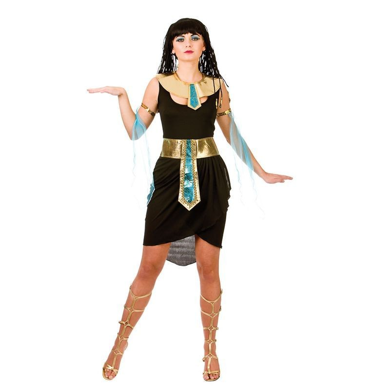 Ladies Black/Gold Egyptian Cute Cleopatra Fancy Dress Costume