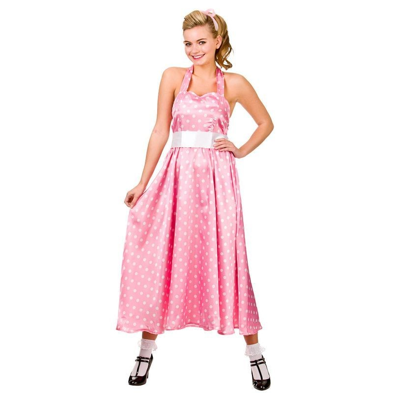 Ladies Pink 50'S Grease Style Bopper Fancy Dress Costume