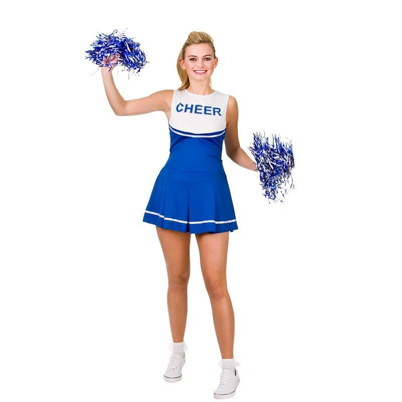Ladies Blue/White College Cheerleader Fancy Dress Costume