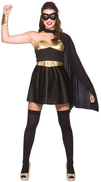 Ladies Black/Gold Avenging Super Hero Fancy Dress Costume