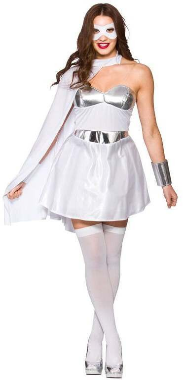 Ladies White/Silver Avenging Super Hero Fancy Dress Costume