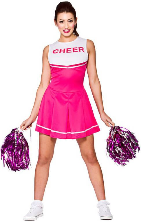 Ladies Pink High School Cheerleader Fancy Dress Costume