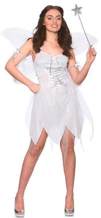 Ladies White Good Fairy Fancy Dress Costume