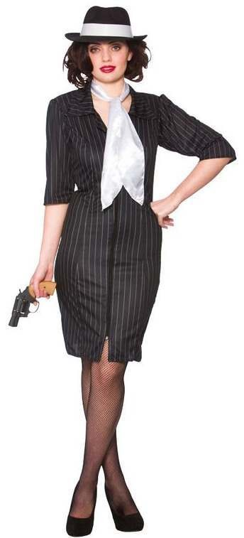 Ladies Gangster Gal Fancy Dress Costume