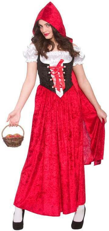 Ladies Deluxe Red Riding Hood Fancy Dress Costume