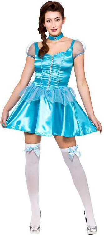 Ladies Ice Blue Frozen Princess (Short) Fancy Dress Costume
