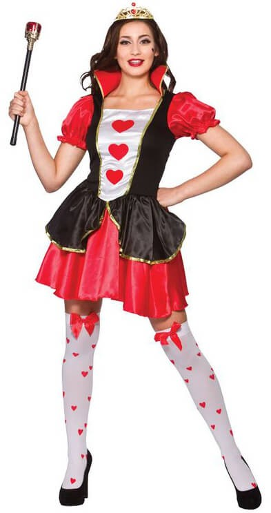 Ladies Storybook Queen Of Hearts(Short)Fancy Dress Costume