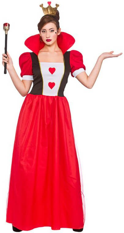 Ladies Red/White Storybook Queen Of Hearts Fancy Dress Costume
